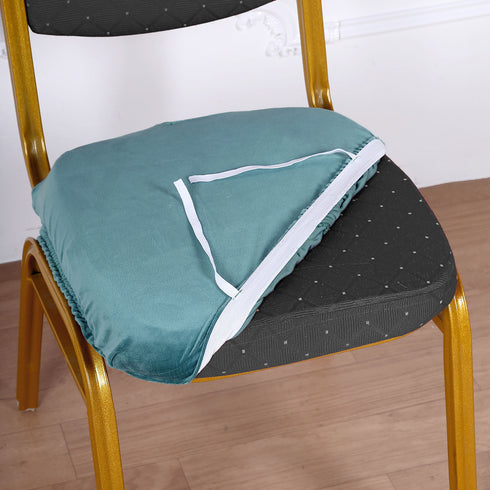 Teal Velvet Dining Chair Seat Cover, Stretchable Chair Cushion Cover with Tie