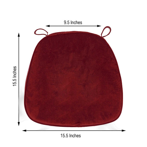 "2"" Thick Burgundy Chair Cushion Pad - Chiavari Chair Cushion with Velcro Strap and Removable Velvet Cover"