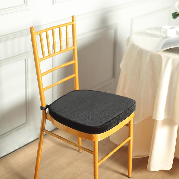 "2"" Thick - Black Velvet Memory Foam Seat Cushion - Chiavari Chair Cushion Pads with Velcro Strap and Removable Velvet Cover"