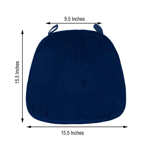 "2"" Thick Navy Blue Chair Cushion Pad - Chiavari Chair Cushion with Velcro Strap and Removable Velvet Cover"