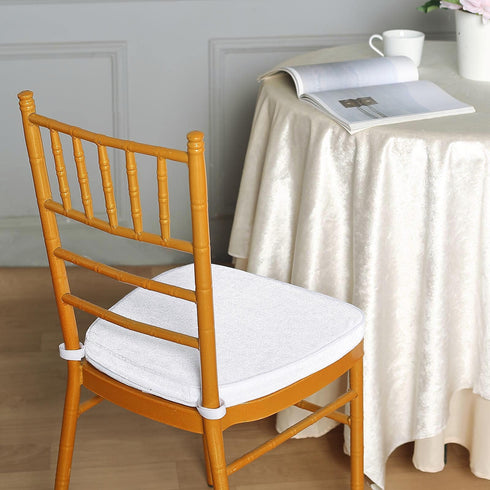 "2"" Thick White Chair Cushion Pad - Chiavari Chair Cushion with Velcro Strap and Removable Velvet Cover"