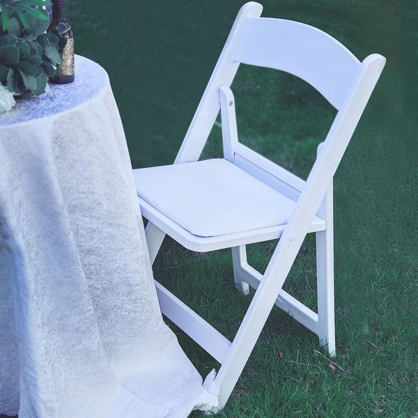 White Folding Chair With Vinyl Padded Seat, Wedding Chair