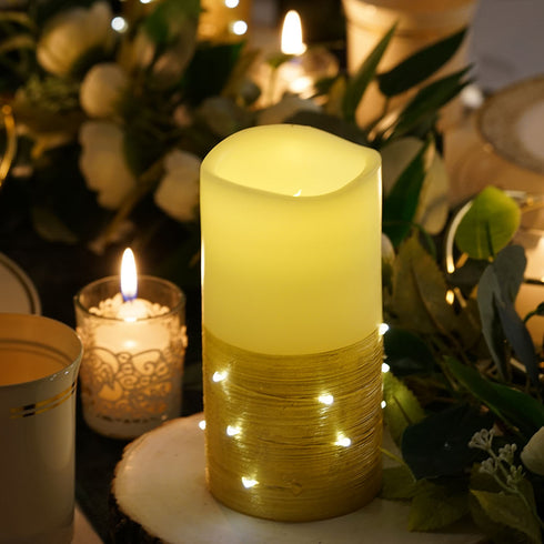 Set of 3 | Gold | Battery Operated Flameless Candles With LED String Light | Pillar Candle Lights with Remote Timer - 4"
