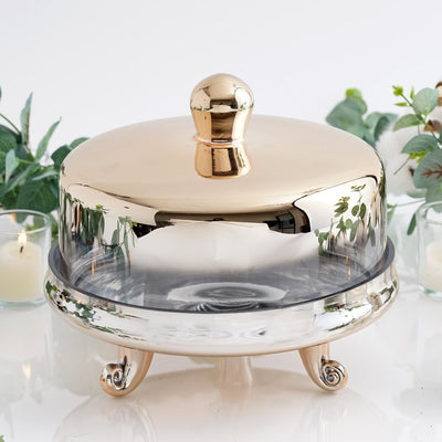 "2 Piece | 6-in-1 Dome Server Set | 9"" Champagne 