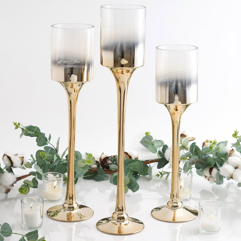 Set of 3 | Chrome Gold Long Stem Pillar Glass Candle Holders With Ombre Glass Tubes - 20"