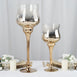 Set of 2 | Chrome Gold Long Stem Ombre Glass Goblet Candle Holders - 20"