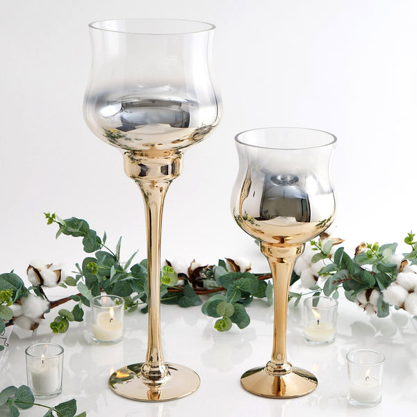 Set of 2 | Chrome Gold Long Stem Ombre Glass Goblet Candle Holder Set - 20"