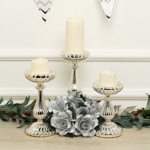 "Set of 3 - Mercury Glass Silver Pillar Candle Holders, Taper Candle Holders - 7"", 8"", 10"""