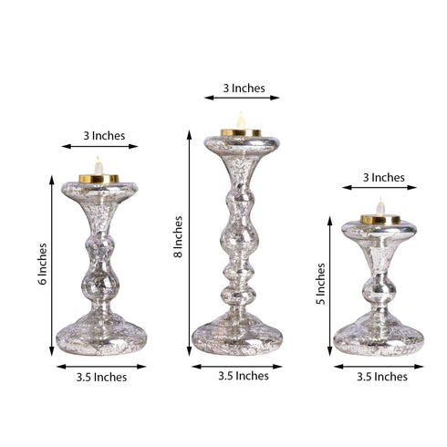 Mercury Glass Candle Holders, Pillar Candle Holders, Candlestick