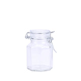 Wholesale Clear Hexagon Glass Jars For Candy Beverage Favor With Flip Lid - 12 PCS
