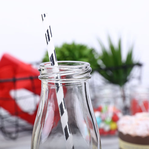 12 Pack 11 Oz Clear Glass Favor Milk Bottles With Lids