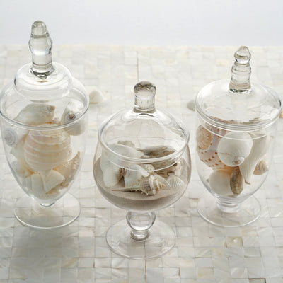 "3 Pack | Clear Glass Apothecary Jars Candy Buffet Containers with Lids - 9""/10""/11"""