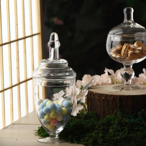 "Set of 3 Glass Apothecary Candy Jars With Lids - 9""/10""/11"""