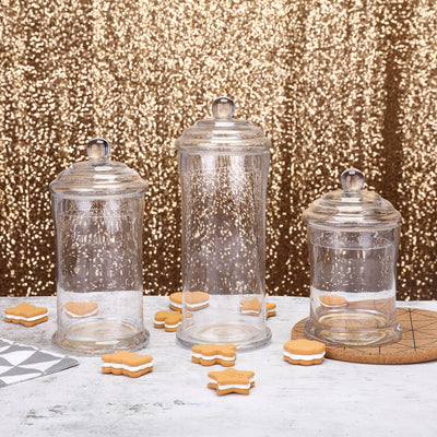 "Set of 3 Glass Apothecary Candy Jars With Lids - 7""/9""/10"""