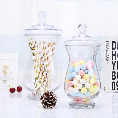 Astounding 2 Pack Clear Glass Apothecary Jars Candy Buffet Containers With Lids 10 12 Interior Design Ideas Grebswwsoteloinfo