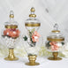 "Set of 3 Gold Trimmed Glass Apothecary Candy Jars With Lids -10""/14""/16"""