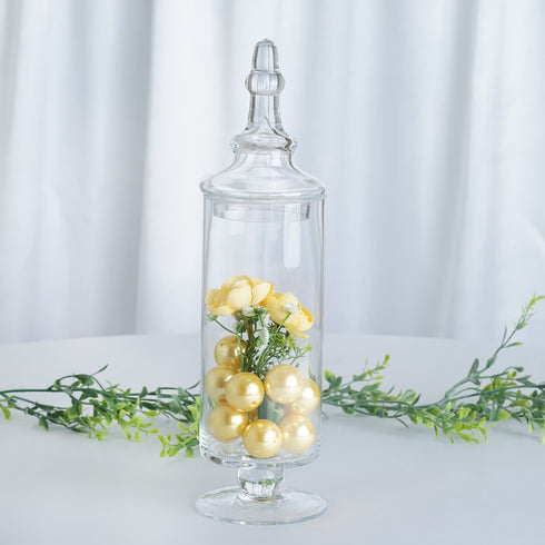 "Set of 3 Glass Apothecary Candy Jars With Lids - 9""/13""/14"""