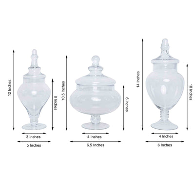 "Set of 3 Glass Apothecary Candy Jars With Lids - 12""/13""/14"""