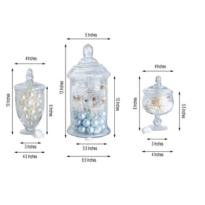 "Set of 3 Glass Apothecary Candy Jars With Lids – 8""/10""/13"""