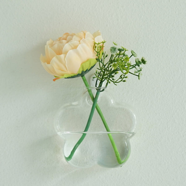 3 Pack - Flower Shaped Glass Wall Vase - Indoor Wall Mounted Planters - Hanging Terrariums