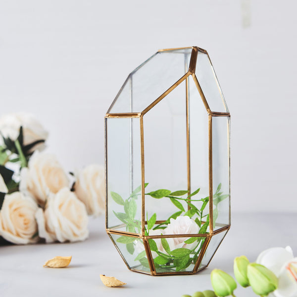 "10"" Heptagon Prism Gold Metal Geometric Glass Terrarium, Multipurpose Air Plants Holder"
