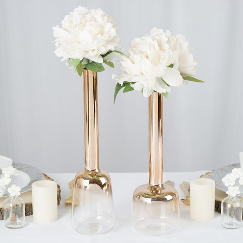 Pack of 2 | Chrome Gold Heavy Duty Glass Flower Vases Sets Of 13"