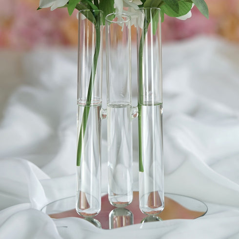 3 Clear Glass Conjoined Test Tube Flower Vase Plant Decoration - SET of 2
