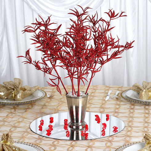 12 Showcase Glitter Stems - Red