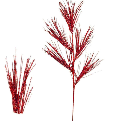 6 x Glittered Palm Stem - Red