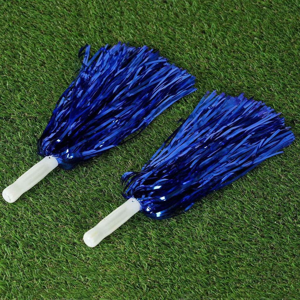 12 x Delightful Foil Pom Poms Royal Blue