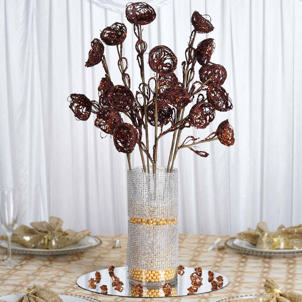 6 x Trio of Glittered Birds Nest on Stem - Chocolate