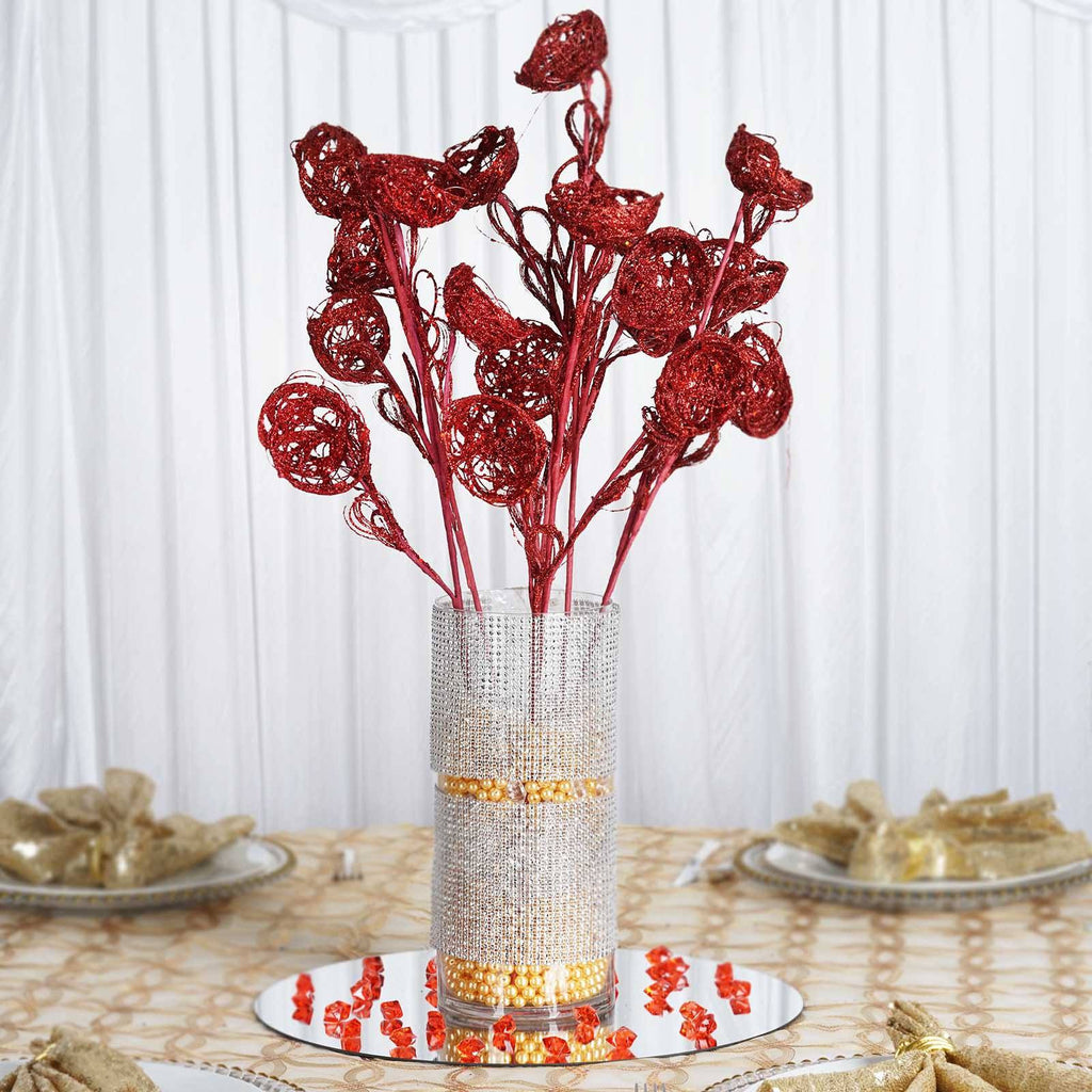 6 x Trio of Glittered Birds Nest on Stem - Red