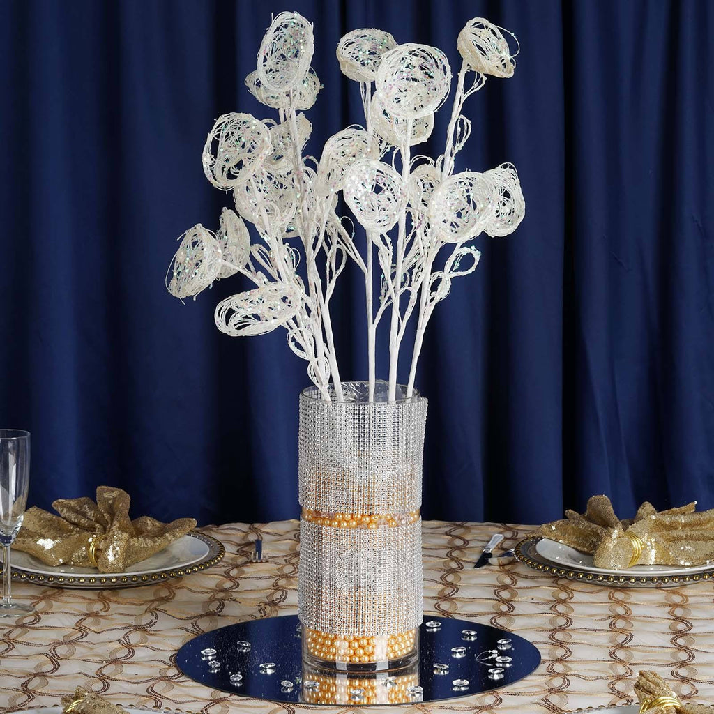 6 x Trio of Glittered Birds Nest on Stem - White