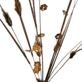6 x Shiny Blossoms with Small Beads and Feathers on Long Stems - Chocolate
