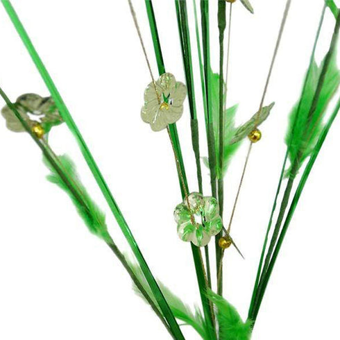 6 x Shiny Blossoms with Small Beads and Feathers on Long Stems - Lime