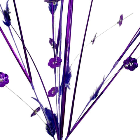 6 x Shiny Blossoms with Small Beads and Feathers on Long Stems - Purple