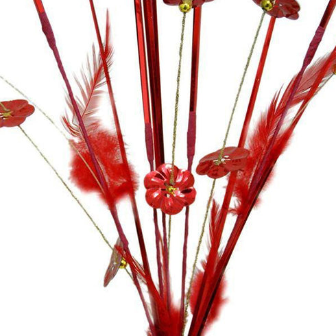 6 x Shiny Blossoms with Small Beads and Feathers on Long Stems - Red