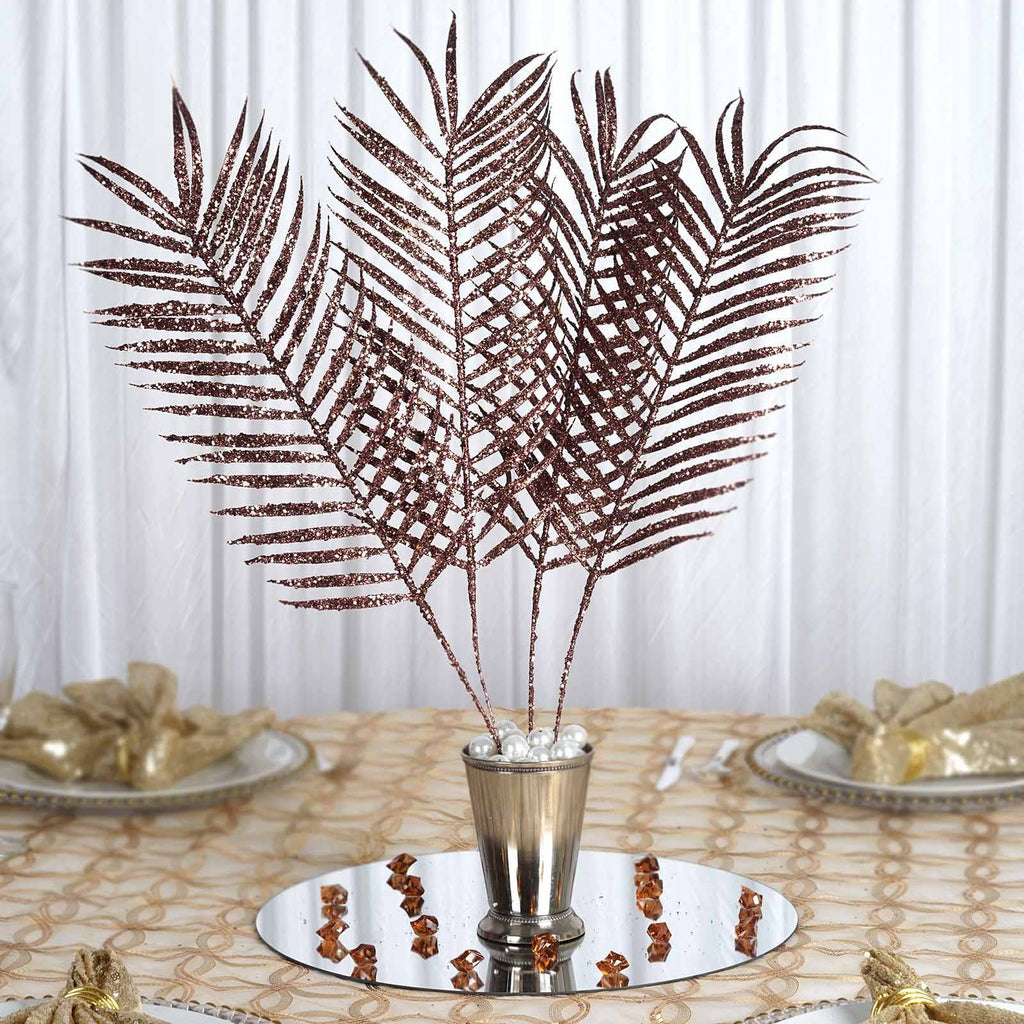 6 x Glittered Tropical Palm Leaf - Chocolate
