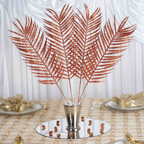6 x Glittered Tropical Palm Leaf - Copper