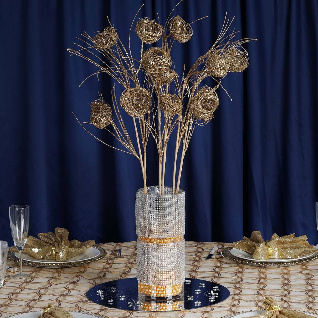 6 x Deuce of Glittered Birds Nest on Stem - Champagne
