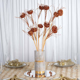 6 x Deuce of Glittered Birds Nest on Stem - Copper