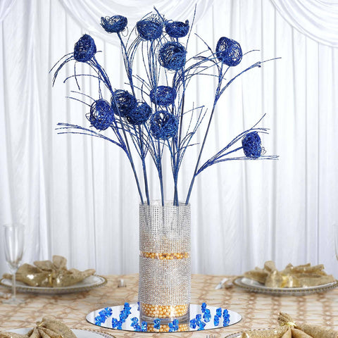 6 x Deuce of Glittered Birds Nest on Stem - Navy