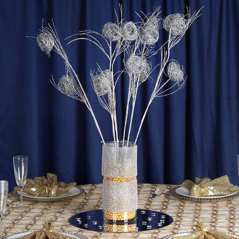 6 x Deuce of Glittered Birds Nest on Stem - Silver