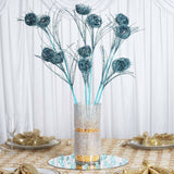 6 x Deuce of Glittered Birds Nest on Stem - Turquoise
