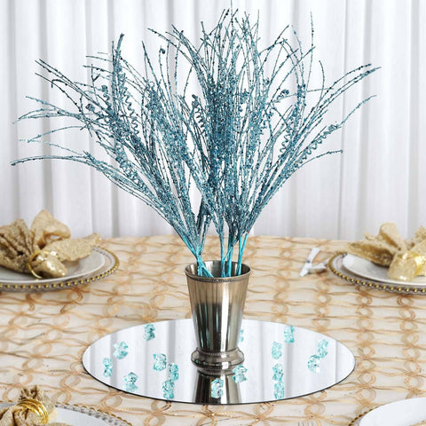 12 x Wavy Glittered Stems - Turquoise