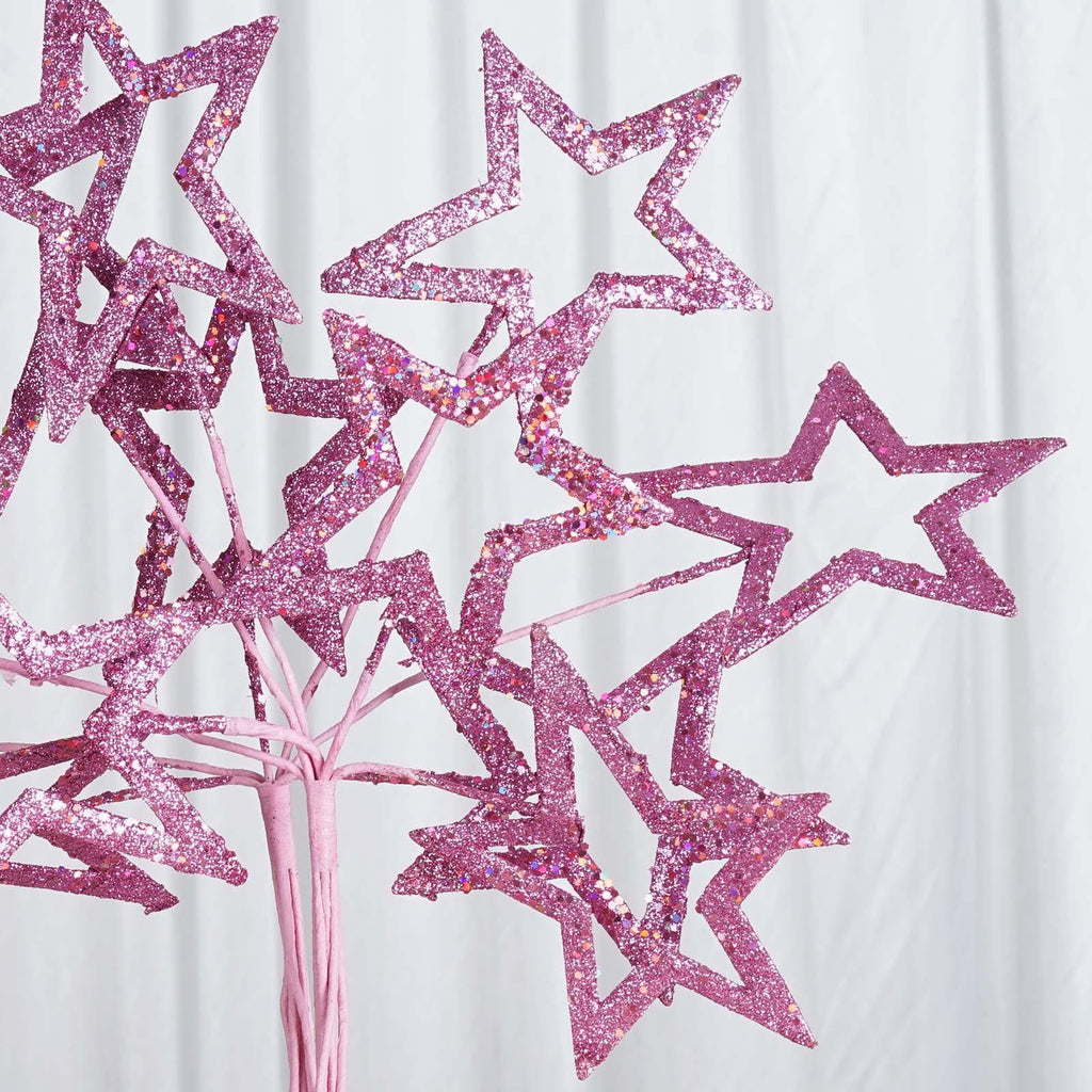 6 x Fairy Godmothers Glittered 6-star Wand - Pink