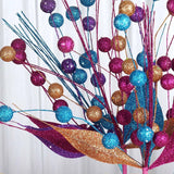 6 x Upright Sparkling Drops On Stems With Glittered Leaves - Fushia/Copper/Turquoise
