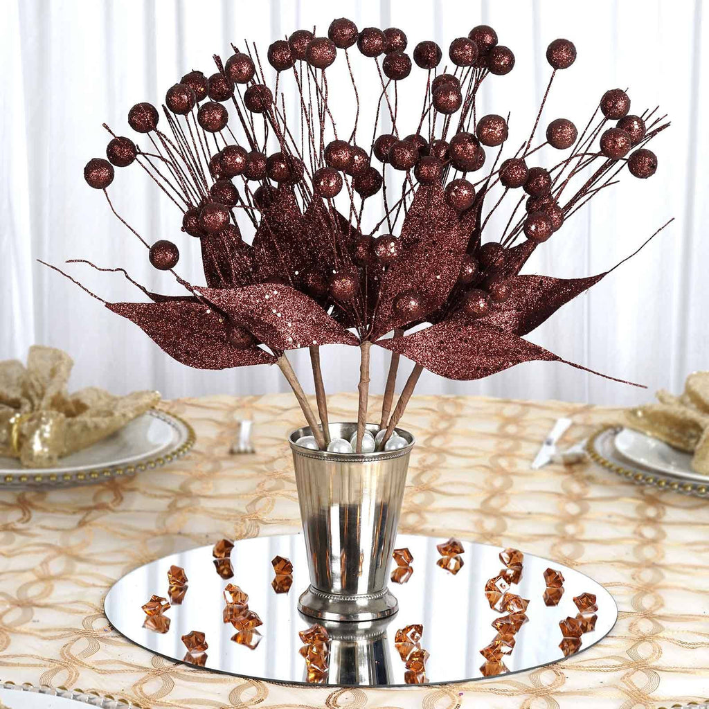 6 x Upright Sparkling Drops On Stems With Glittered Leaves - Chocolate