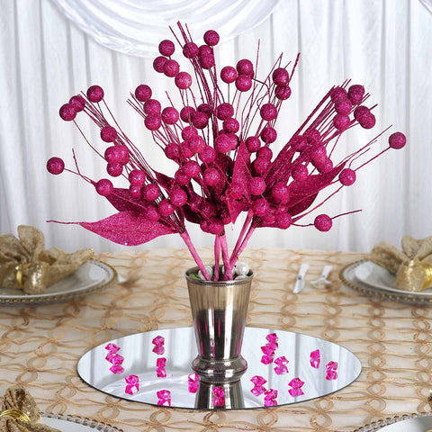 6 x Upright Sparkling Drops On Stems With Glittered Leaves - Fushia
