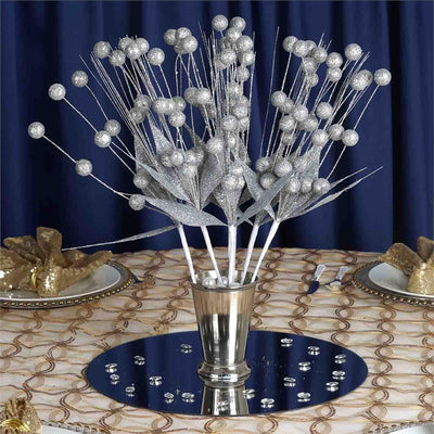 6 Pack Silver Upright Sparkling Drops On Stems With Glittered Leaves